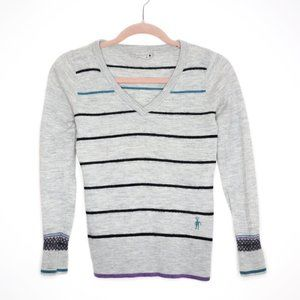 Smartwool   Striped V Neck Lightweight Sweater S